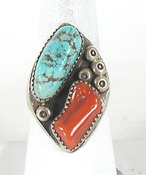 vintage sterling silver Turquoise and Coral ring size 10 1/2
