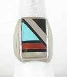 vintage sterling silve, turquoise, coral inlay ring size 10 1/4