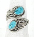vintage sterling silver Turquoise Ring size adjustable 7 to 10  1/2